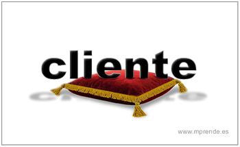 palabra cliente sobre cojín